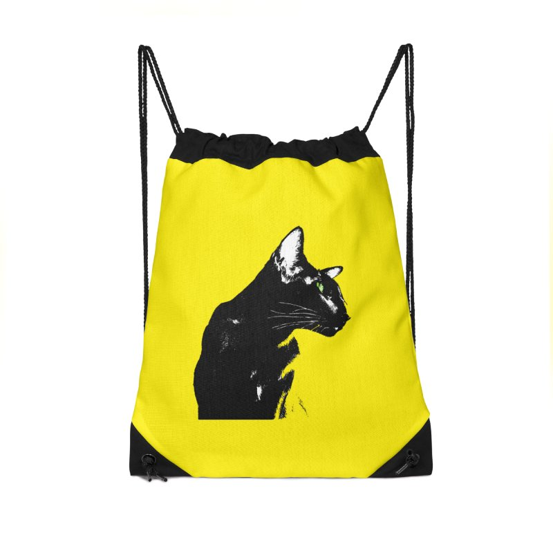 Mr. C. Black - Yellow Accessories Drawstring Bag Bag by pikeart's Artist Shop