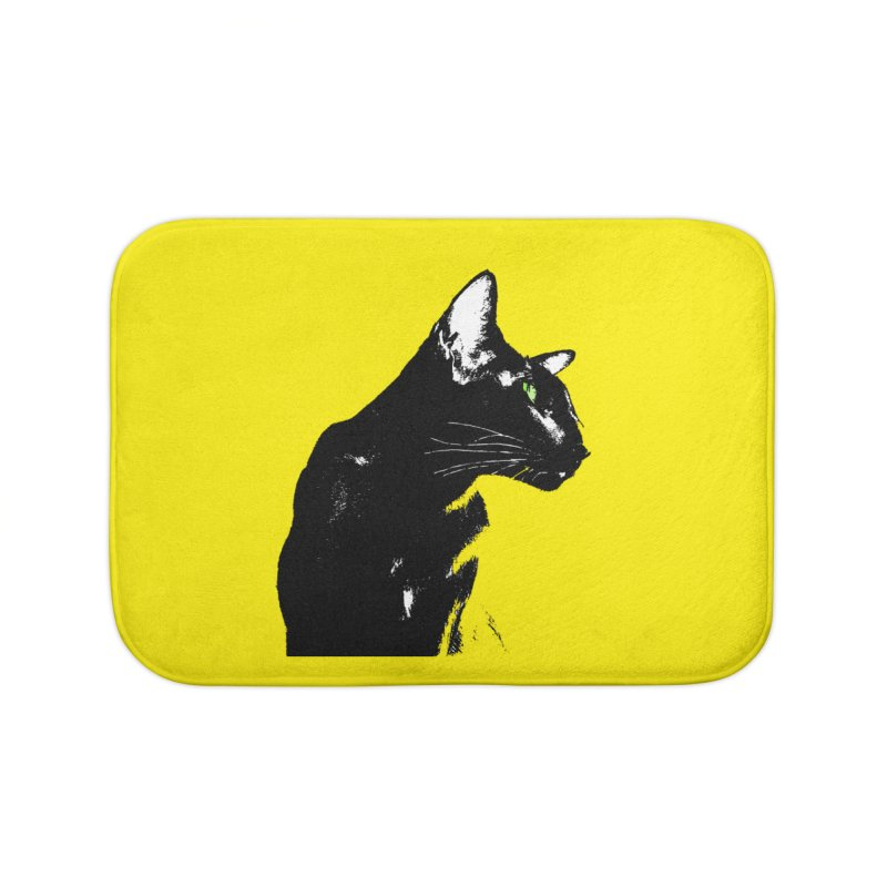Mr. C. Black - Yellow Home Bath Mat by pikeart's Artist Shop
