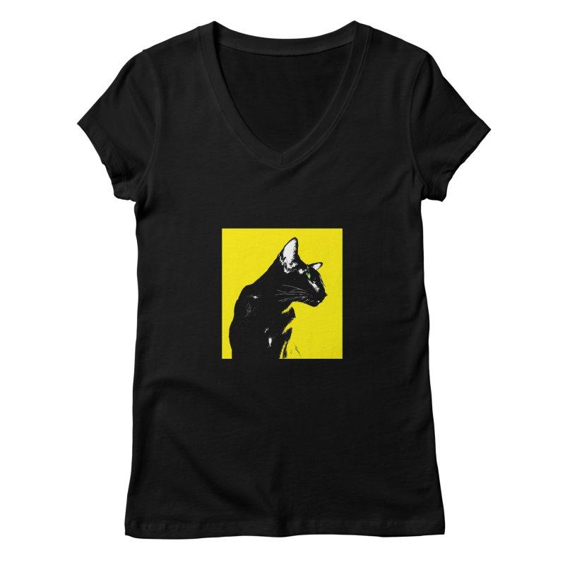 Mr. C. Black - Yellow Women's V-Neck by pikeart's Artist Shop