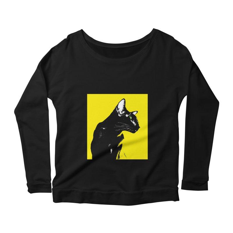 Mr. C. Black - Yellow Women's Scoop Neck Longsleeve T-Shirt by pikeart's Artist Shop