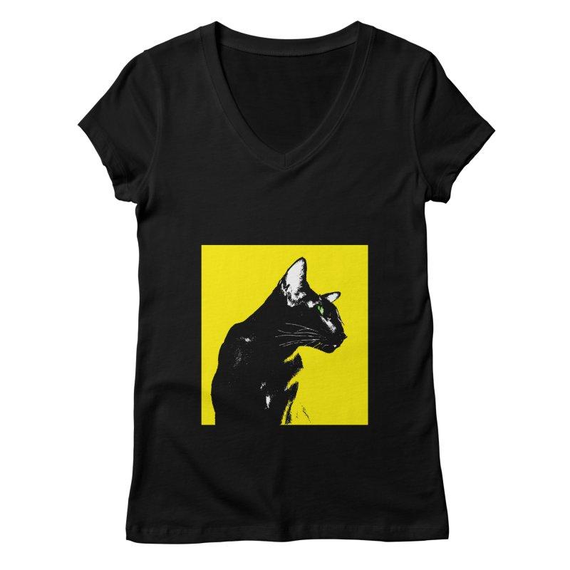 Mr. C. Black - Yellow Women's Regular V-Neck by pikeart's Artist Shop