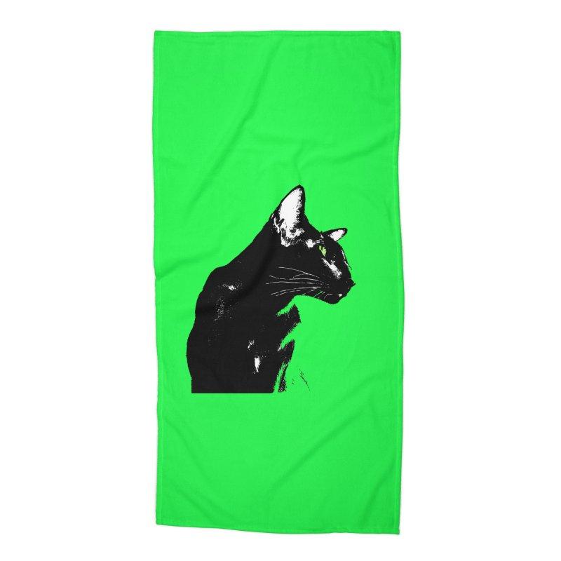 Mr. C. Black - Green Accessories Beach Towel by pikeart's Artist Shop