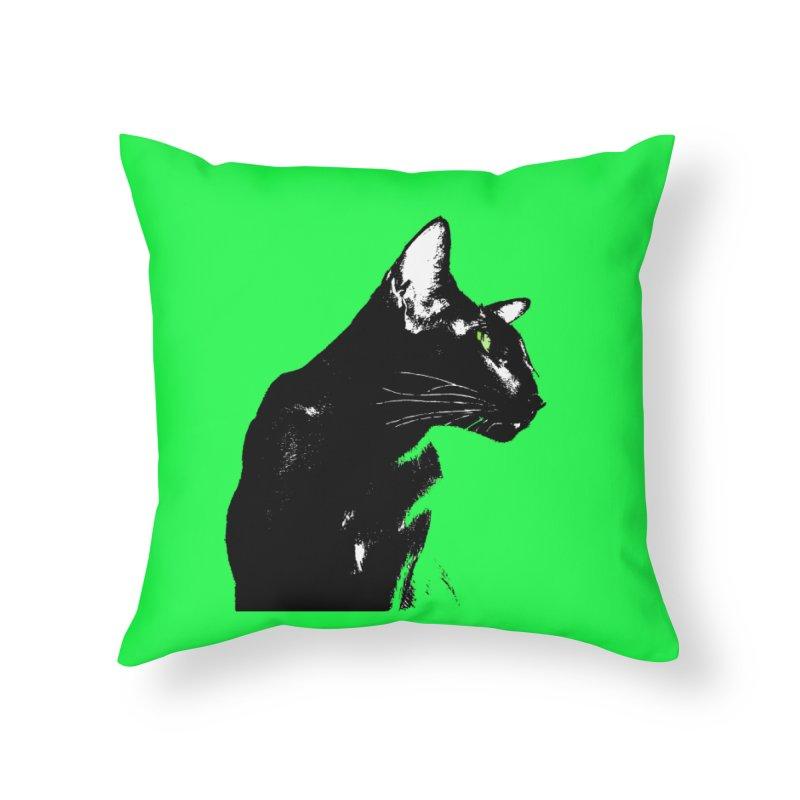 Mr. C. Black - Green Home Throw Pillow by pikeart's Artist Shop