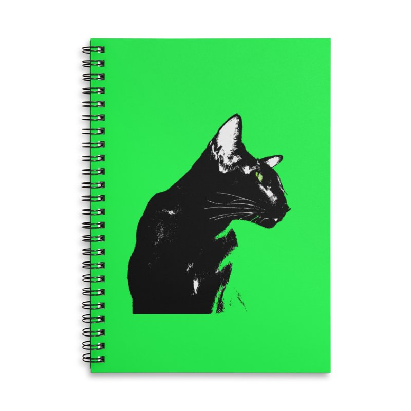 Mr. C. Black - Green Accessories Lined Spiral Notebook by pikeart's Artist Shop