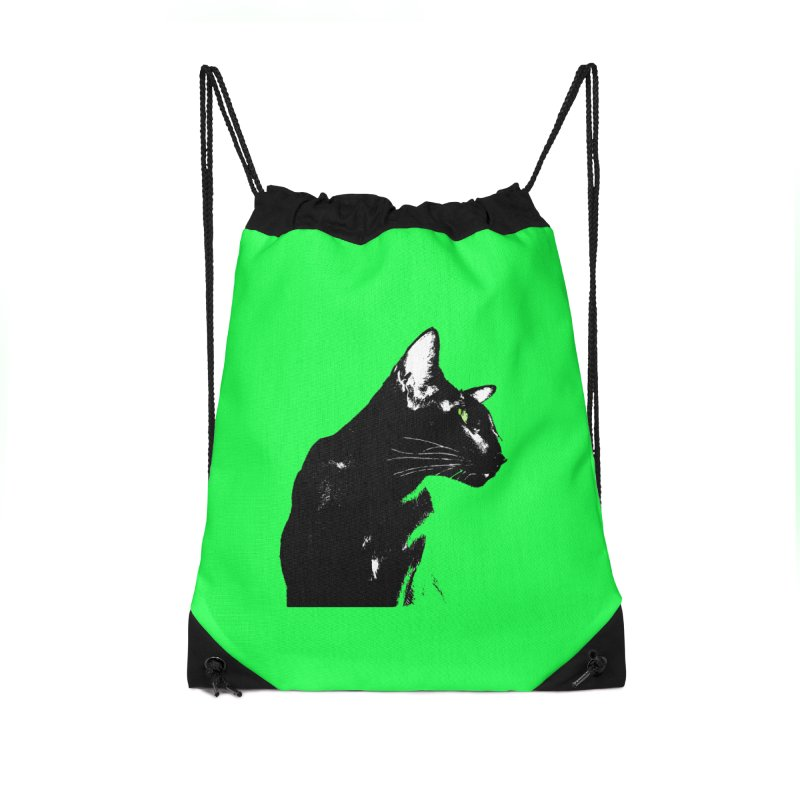 Mr. C. Black - Green Accessories Drawstring Bag Bag by pikeart's Artist Shop