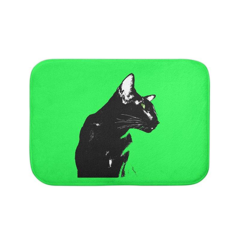 Mr. C. Black - Green Home Bath Mat by pikeart's Artist Shop
