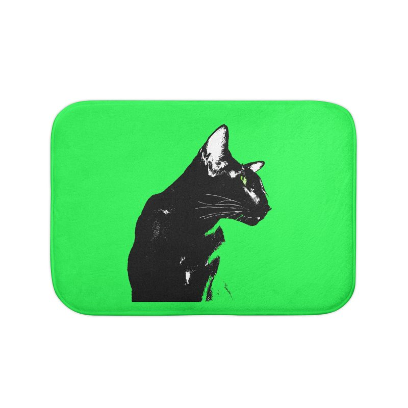 Mr. C. Black - Green Home Bath Mat by pikeart's Artist Shop