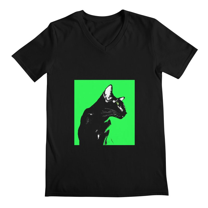 Mr. C. Black - Green Men's Regular V-Neck by pikeart's Artist Shop