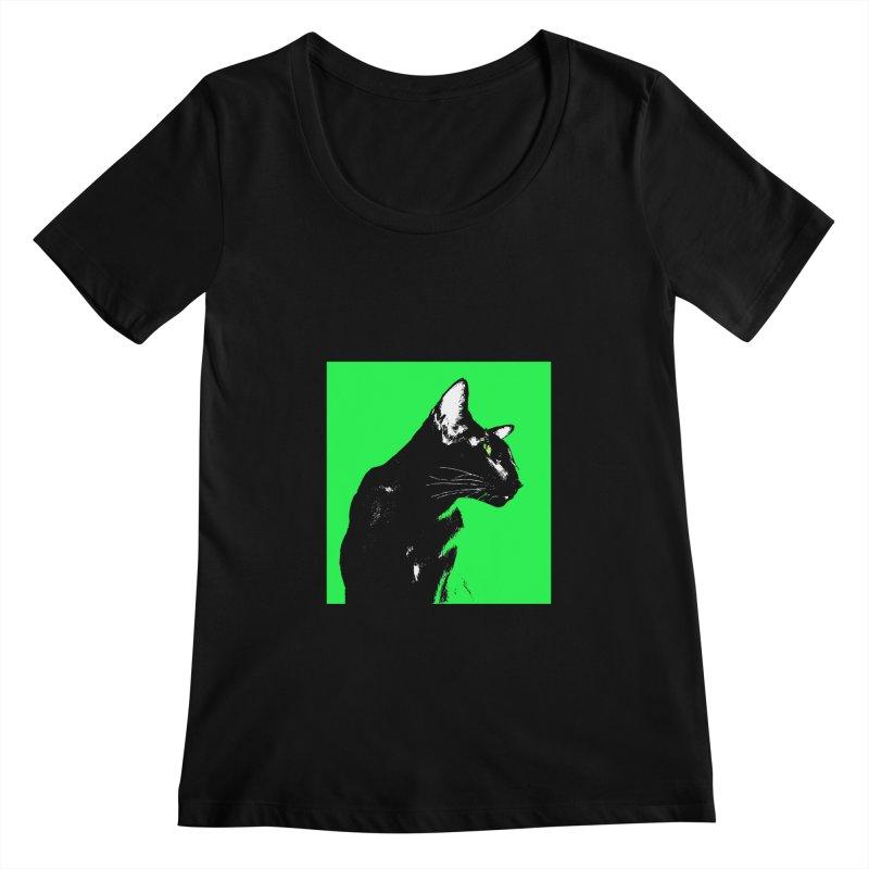 Mr. C. Black - Green Women's Regular Scoop Neck by pikeart's Artist Shop