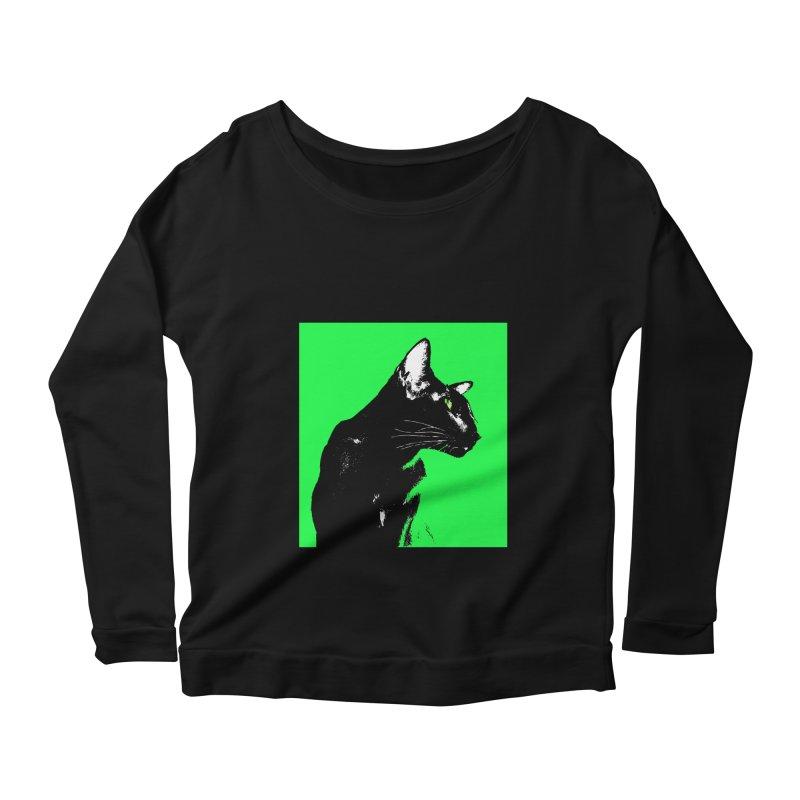 Mr. C. Black - Green Women's Scoop Neck Longsleeve T-Shirt by pikeart's Artist Shop