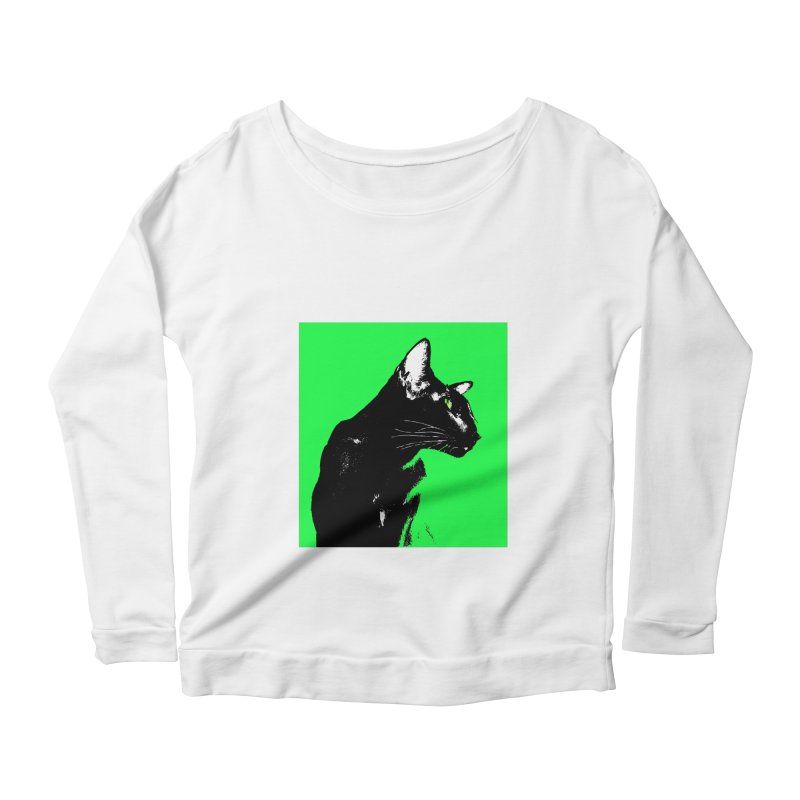 Mr. C. Black - Green Women's Scoop Neck Longsleeve T-Shirt by pikeart's Artist Shop