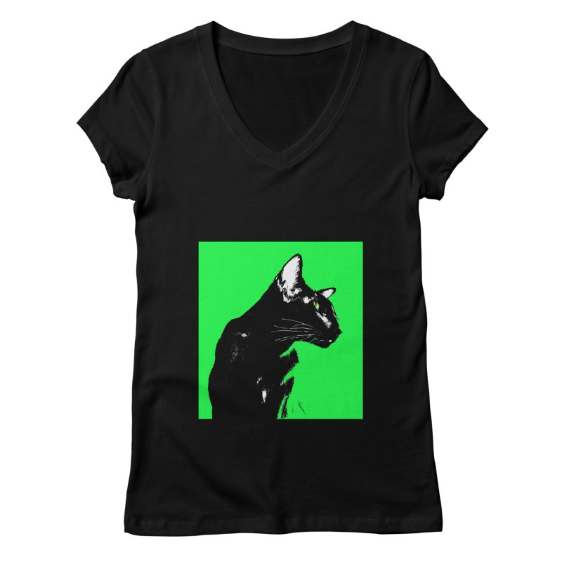 Mr. C. Black - Green Women's Regular V-Neck by pikeart's Artist Shop
