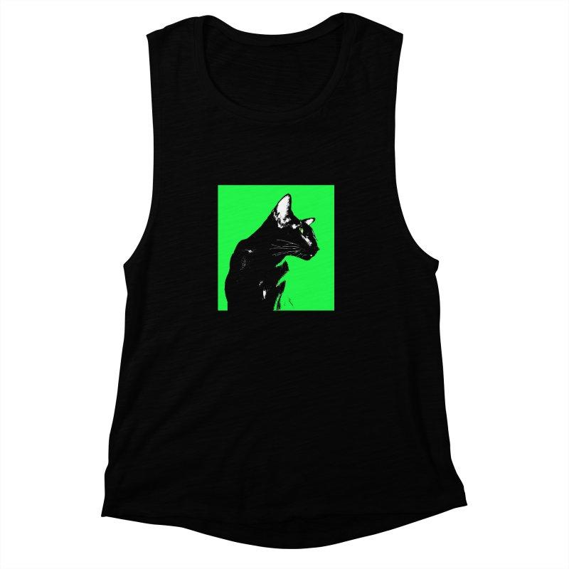 Mr. C. Black - Green Women's Muscle Tank by pikeart's Artist Shop
