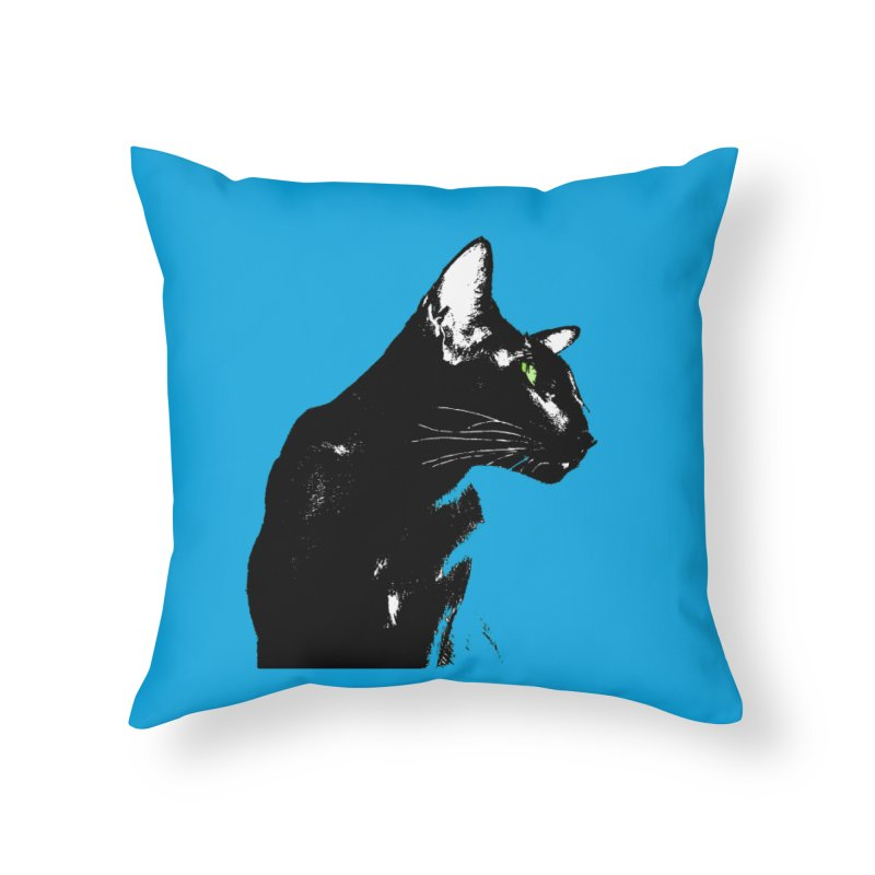 Mr. C. Black - Blue  Home Throw Pillow by pikeart's Artist Shop