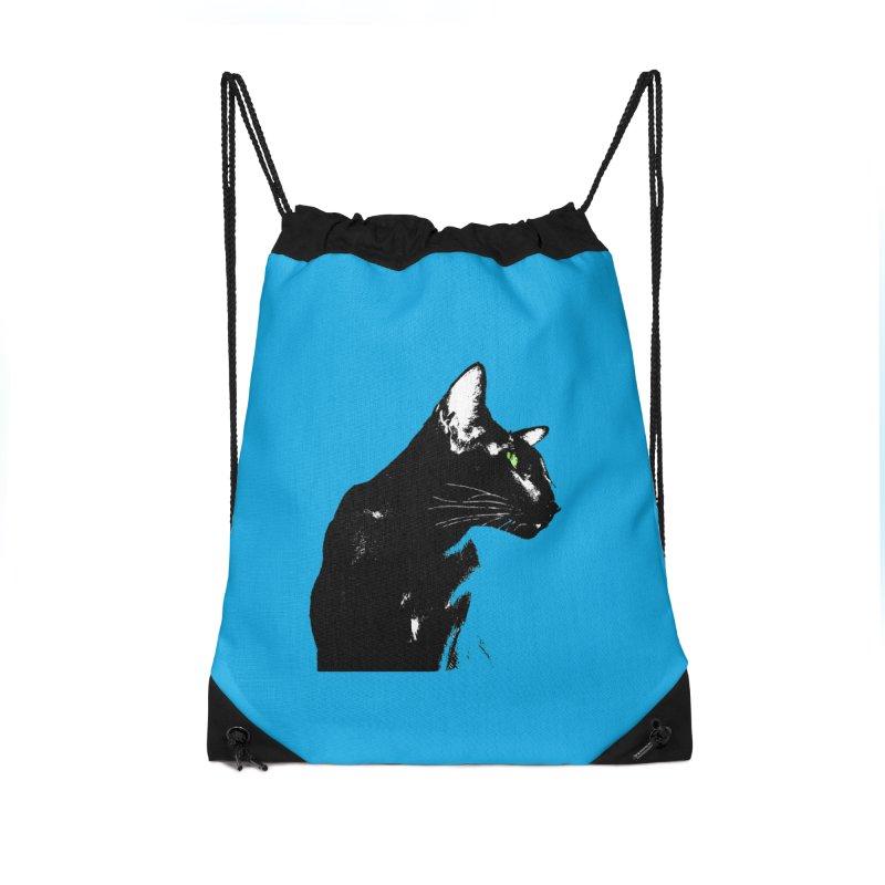 Mr. C. Black - Blue  Accessories Drawstring Bag Bag by pikeart's Artist Shop