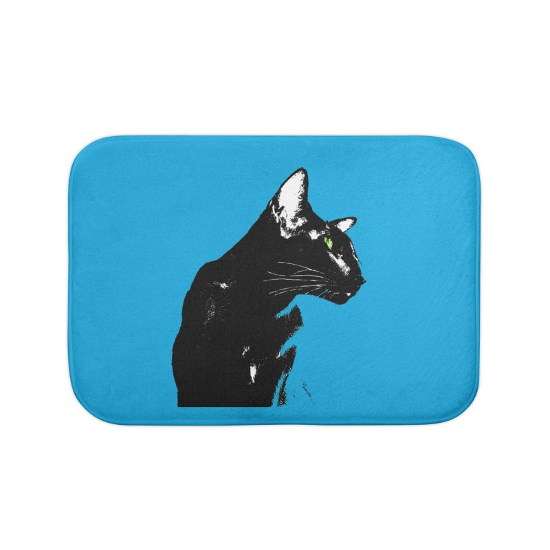 Mr. C. Black - Blue  Home Bath Mat by pikeart's Artist Shop