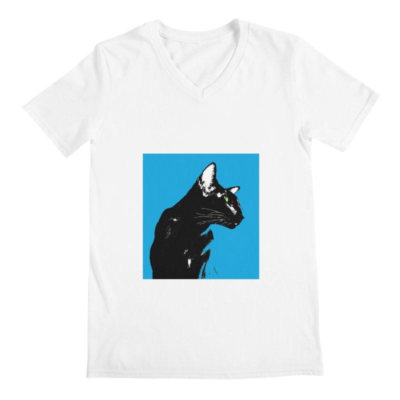 Mr. C. Black - Blue  Men's V-Neck by pikeart's Artist Shop