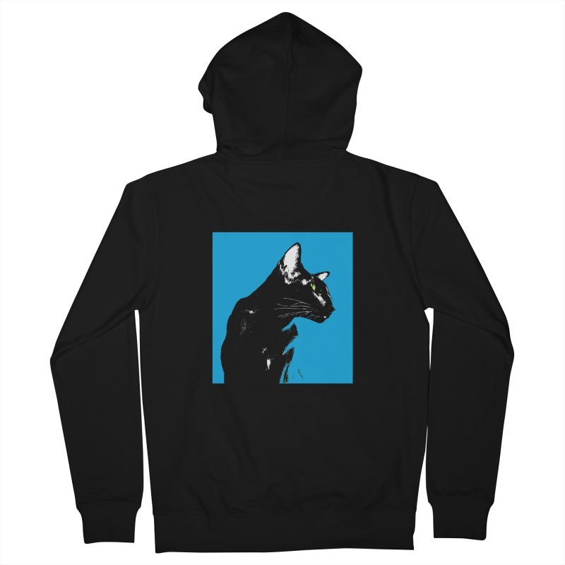 Mr. C. Black - Blue  Women's French Terry Zip-Up Hoody by pikeart's Artist Shop