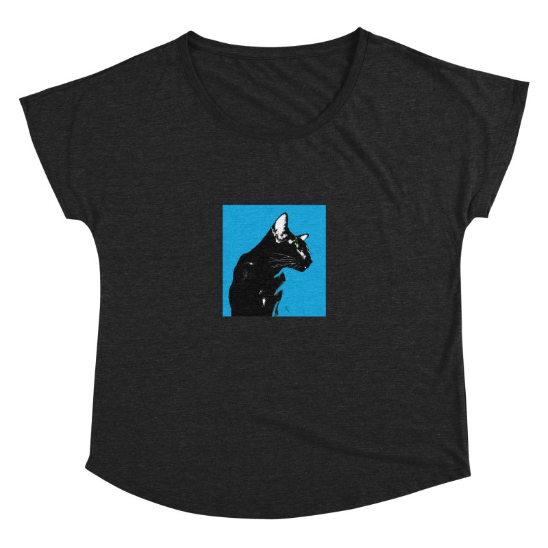 Mr. C. Black - Blue  Women's Scoop Neck by pikeart's Artist Shop