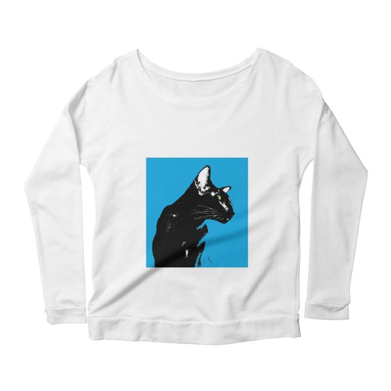 Mr. C. Black - Blue  Women's Scoop Neck Longsleeve T-Shirt by pikeart's Artist Shop