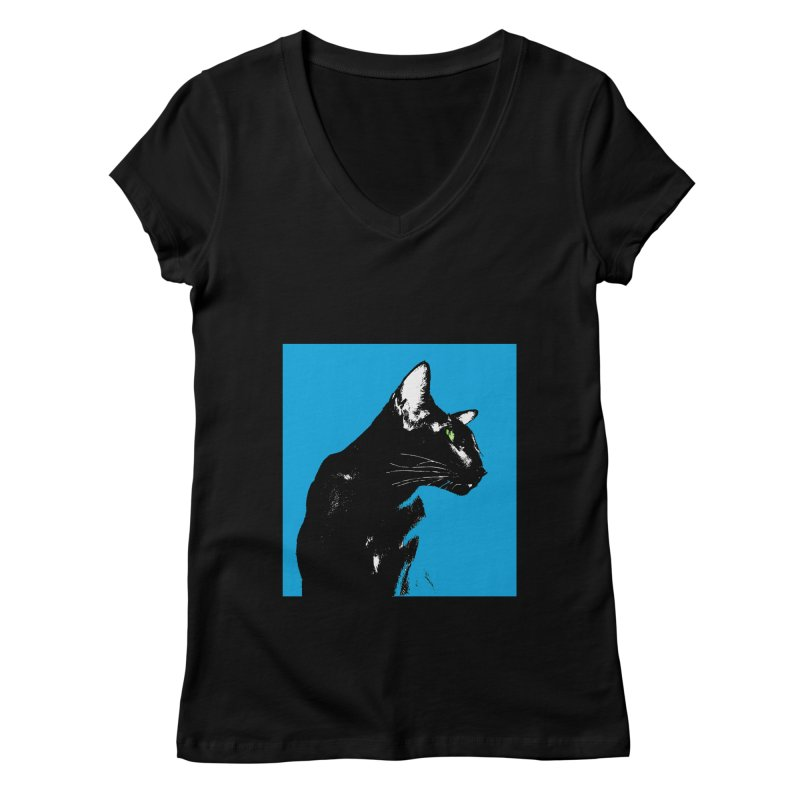 Mr. C. Black - Blue  Women's Regular V-Neck by pikeart's Artist Shop
