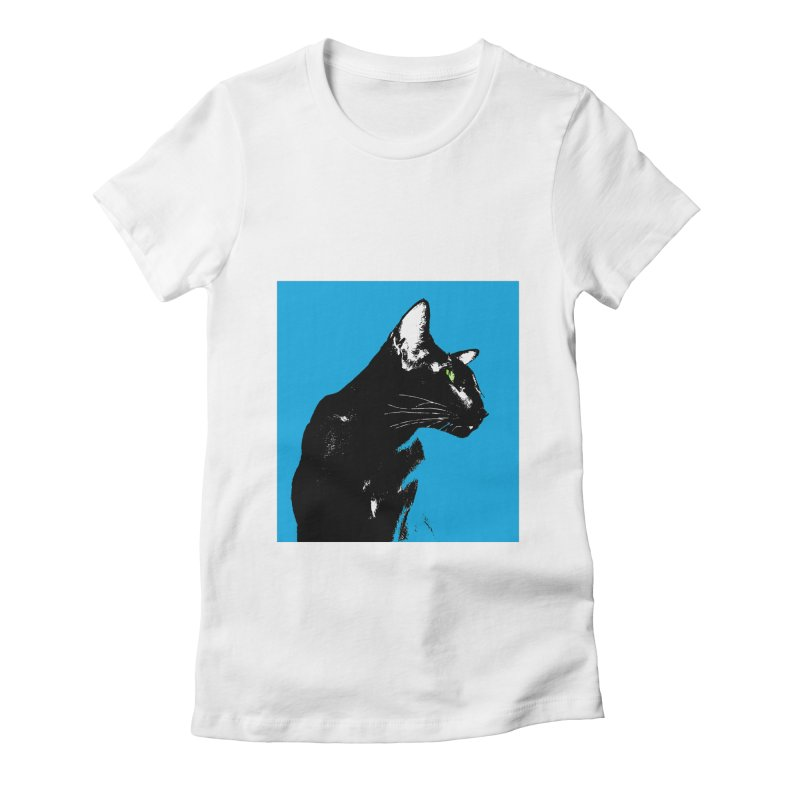 Mr. C. Black - Blue  Women's Fitted T-Shirt by pikeart's Artist Shop