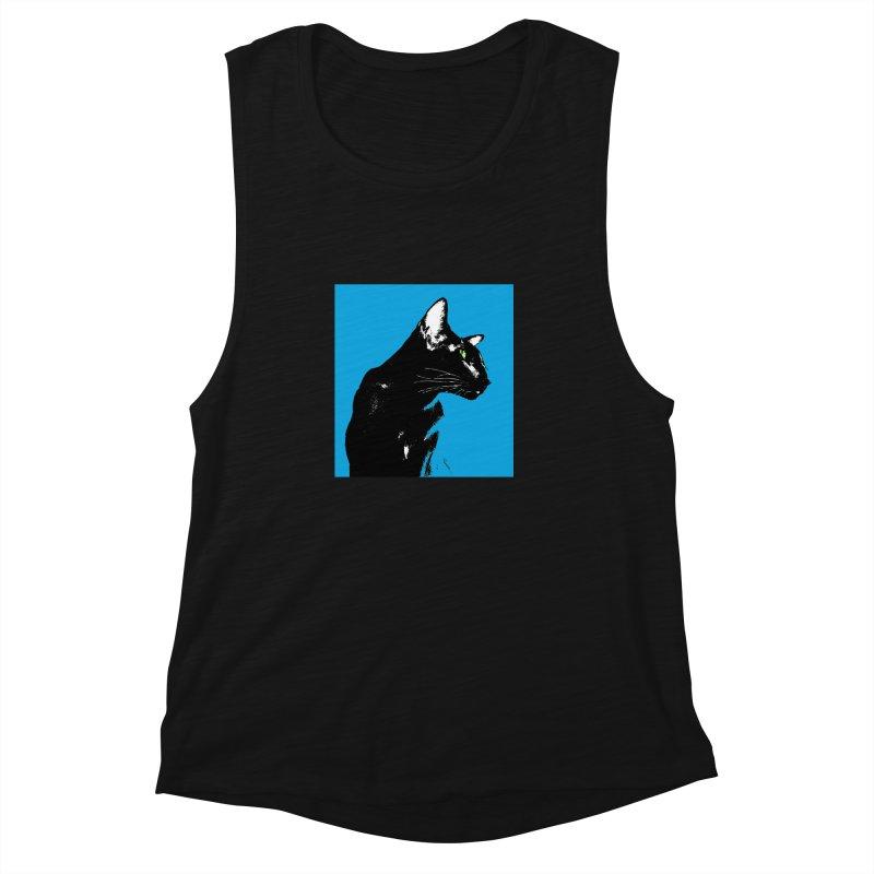 Mr. C. Black - Blue  Women's Muscle Tank by pikeart's Artist Shop