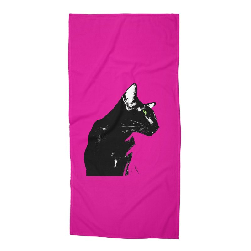 Mr. C. Black - Pink Accessories Beach Towel by pikeart's Artist Shop