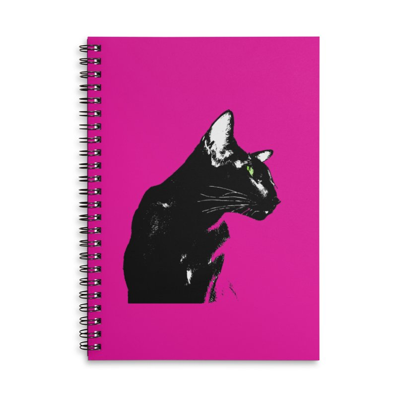 Mr. C. Black - Pink Accessories Lined Spiral Notebook by pikeart's Artist Shop