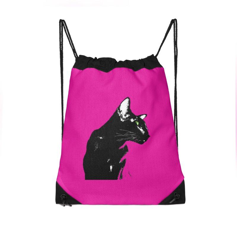 Mr. C. Black - Pink Accessories Drawstring Bag Bag by pikeart's Artist Shop