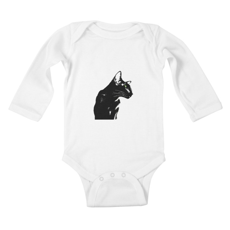 Mr. C. Black  Kids Baby Longsleeve Bodysuit by pikeart's Artist Shop