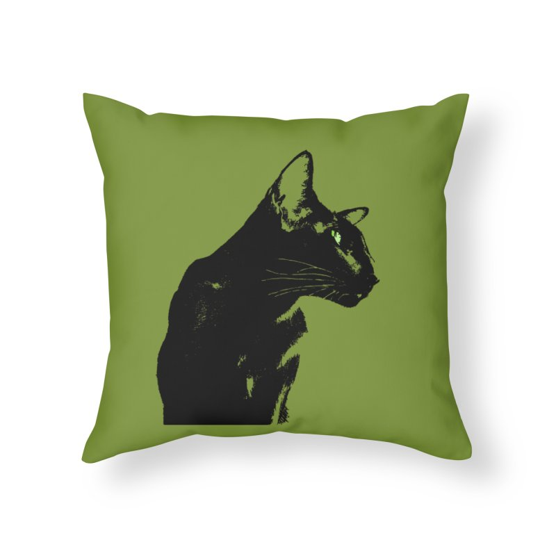 Mr. C. Black - Olive Home Throw Pillow by pikeart's Artist Shop