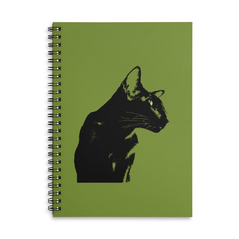 Mr. C. Black - Olive Accessories Lined Spiral Notebook by pikeart's Artist Shop
