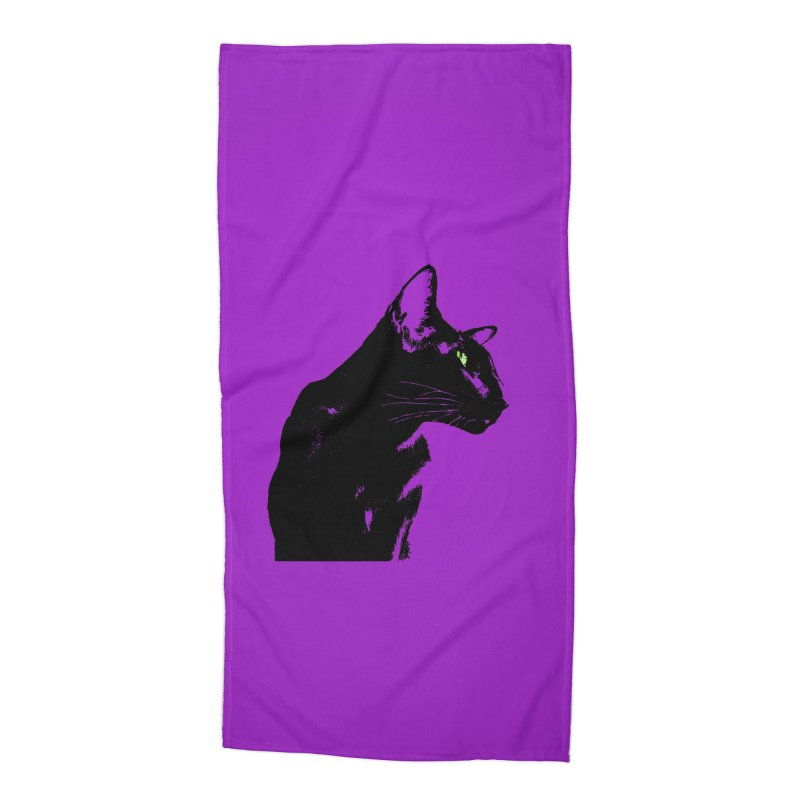 Mr. C. Black - Violet Accessories Beach Towel by pikeart's Artist Shop
