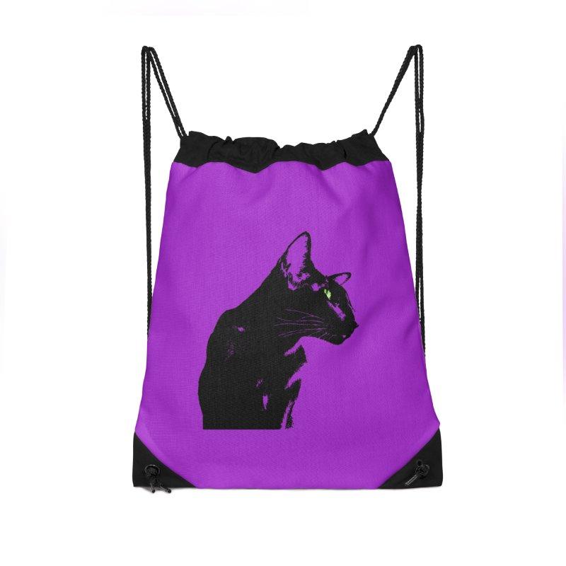 Mr. C. Black - Violet Accessories Drawstring Bag Bag by pikeart's Artist Shop