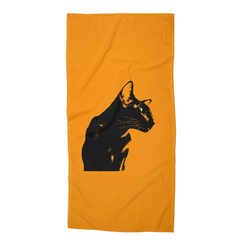 Mr. C. Black - Orange Accessories Beach Towel by pikeart's Artist Shop