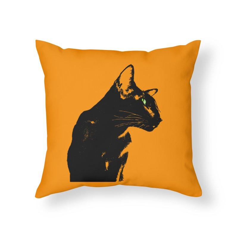 Mr. C. Black - Orange Home Throw Pillow by pikeart's Artist Shop