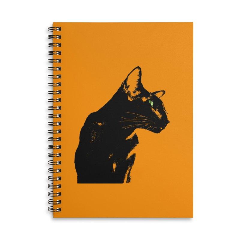 Mr. C. Black - Orange Accessories Lined Spiral Notebook by pikeart's Artist Shop