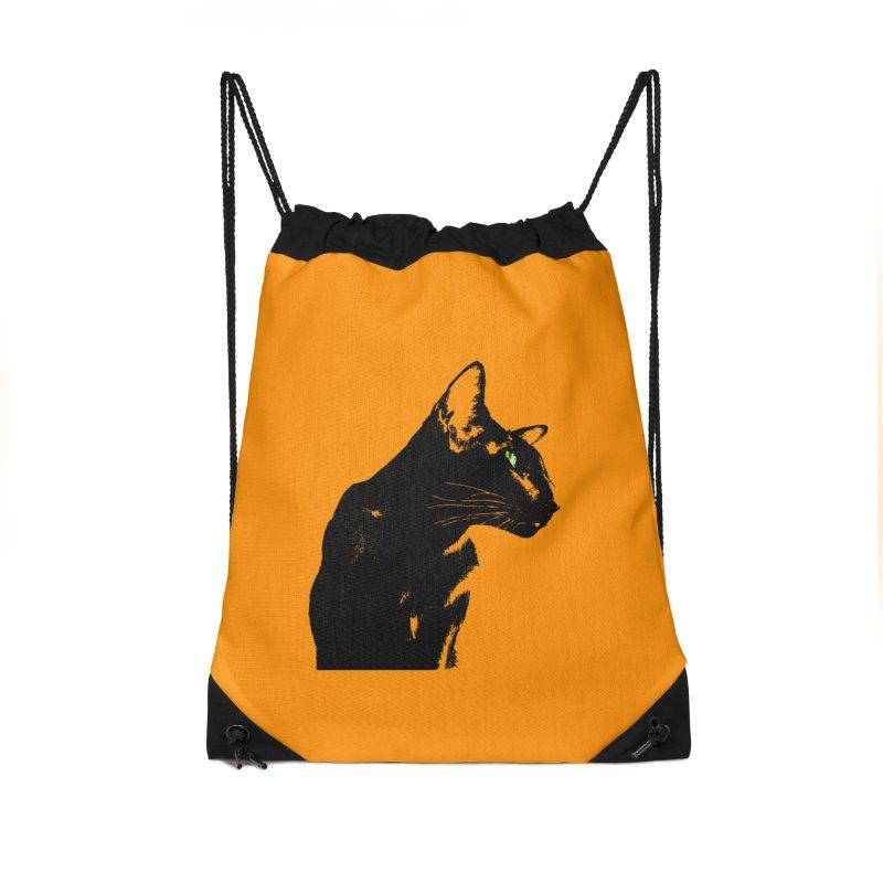 Mr. C. Black - Orange Accessories Drawstring Bag Bag by pikeart's Artist Shop