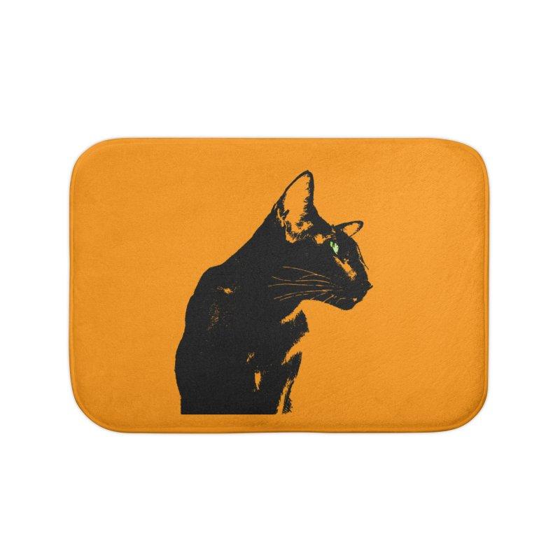 Mr. C. Black - Orange Home Bath Mat by pikeart's Artist Shop