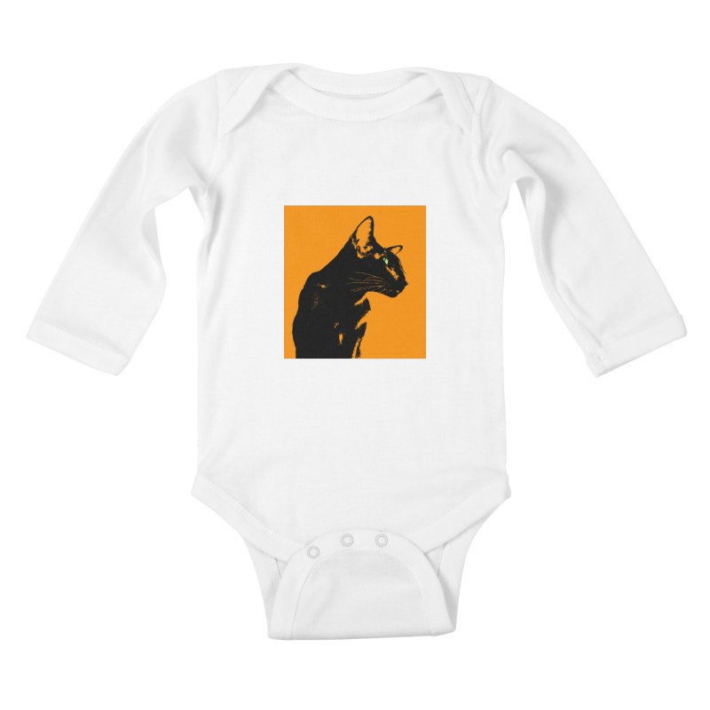 Mr. C. Black - Orange Kids Baby Longsleeve Bodysuit by pikeart's Artist Shop