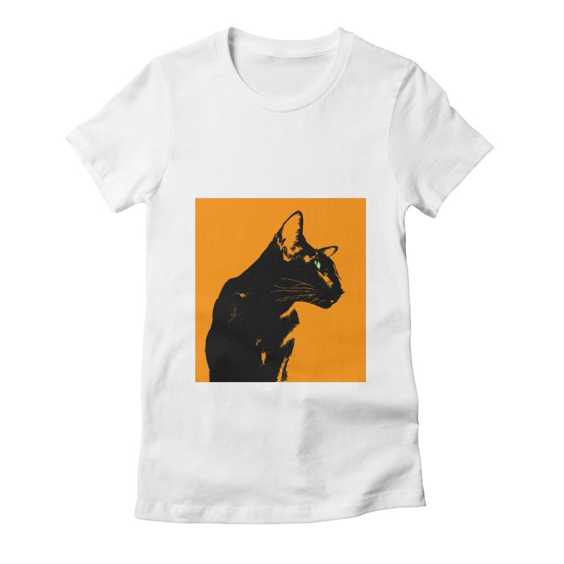 Mr. C. Black - Orange Women's Fitted T-Shirt by pikeart's Artist Shop