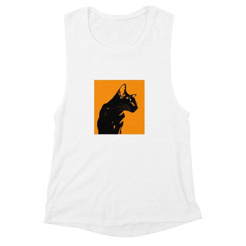 Mr. C. Black - Orange Women's Muscle Tank by pikeart's Artist Shop
