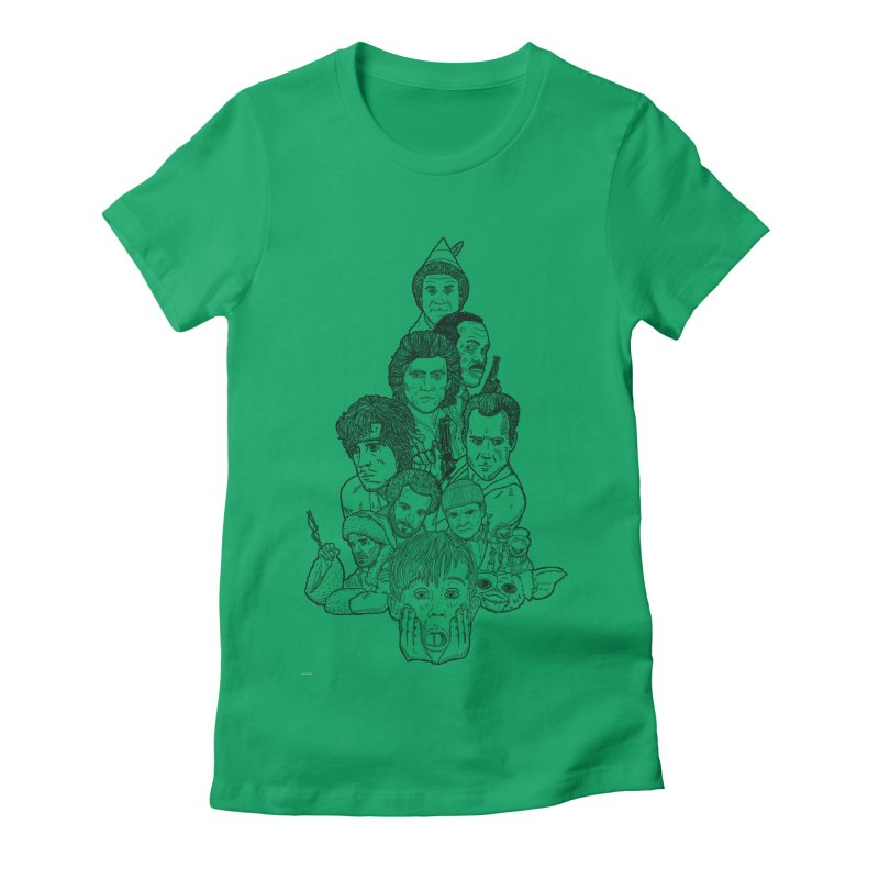 Hollywood Christmas Women's Fitted T-Shirt by Pinata Riot