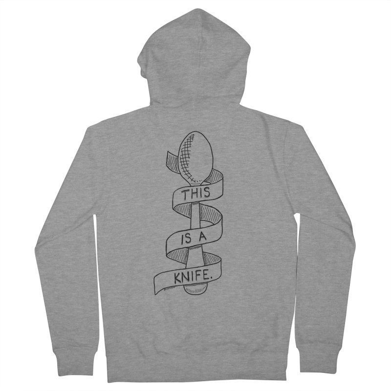 This is a Knife // Black and White Men's French Terry Zip-Up Hoody by Pinata Riot
