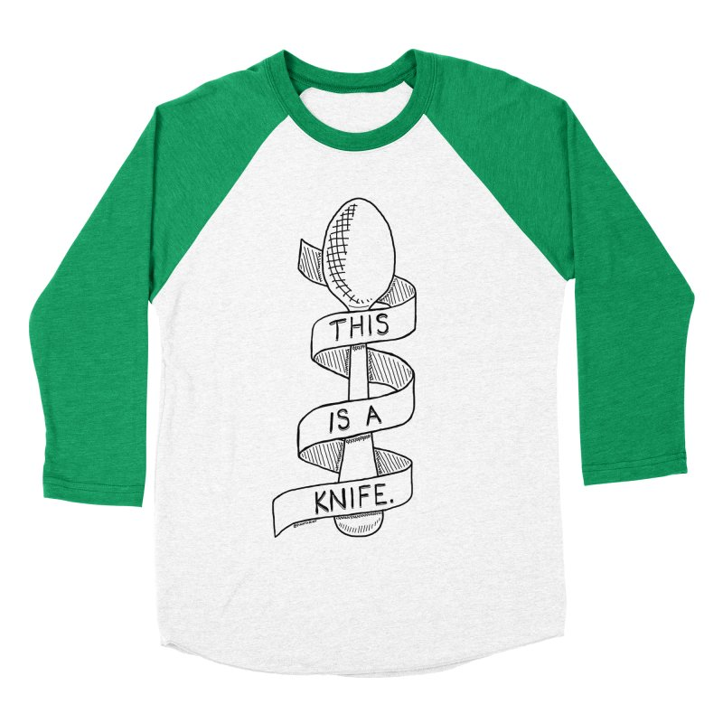 This is a Knife // Black and White Women's Baseball Triblend T-Shirt by Pinata Riot