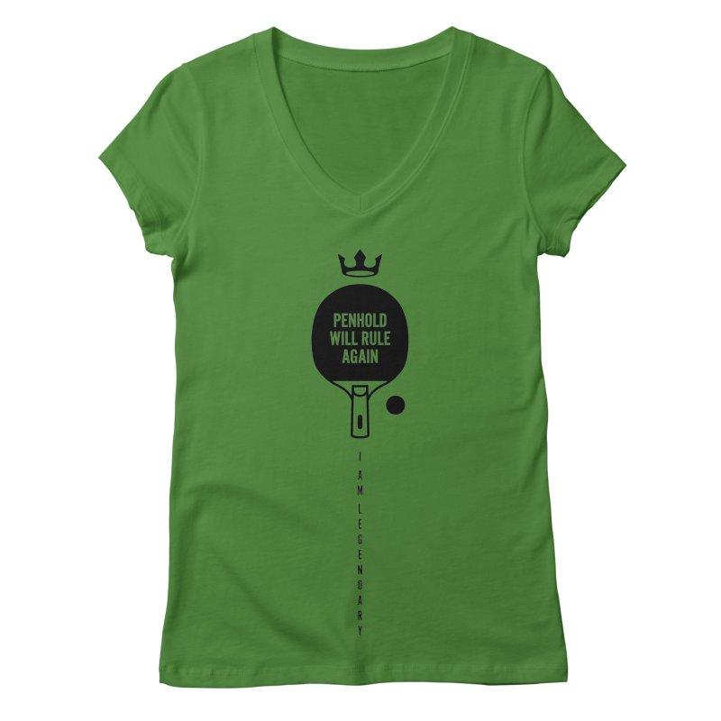 Penhold - I am Legendary Women's V-Neck by PingSunday's Table Tennis Merchandise.