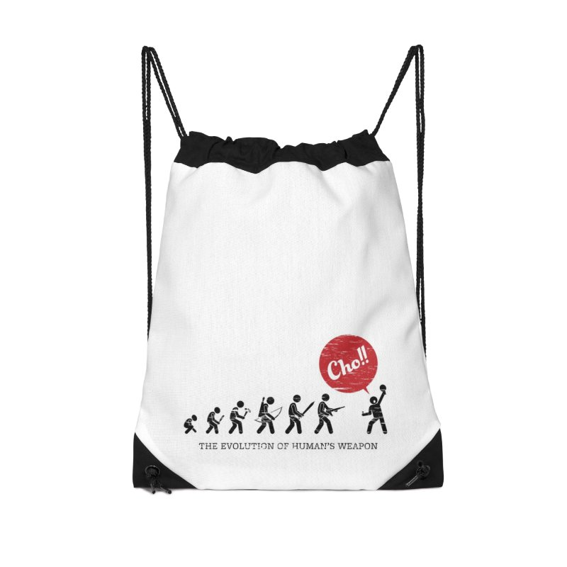 The Evolution of Human's Weapon Accessories Drawstring Bag Bag by PingSunday's Table Tennis Merchandise.