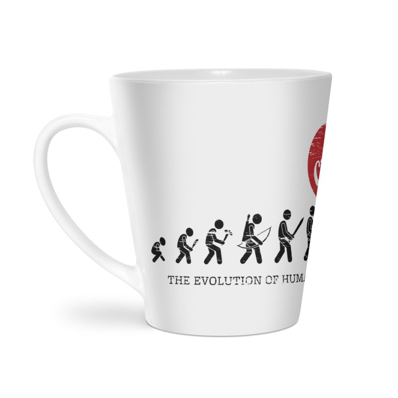 The Evolution of Human's Weapon Accessories Latte Mug by PingSunday's Table Tennis Merchandise.