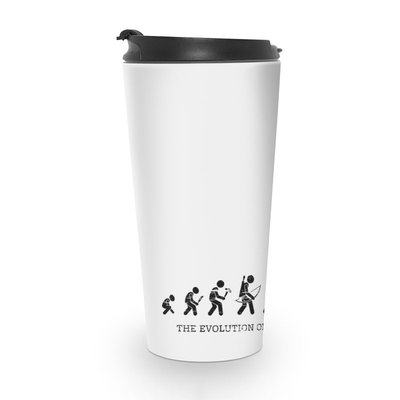 The Evolution of Human's Weapon Accessories Travel Mug by PingSunday's Table Tennis Merchandise.